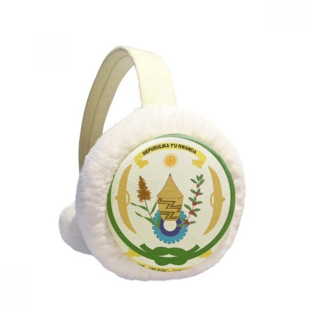 Rwanda Africa National Emblem Winter Earmuffs Ear Warmers Faux Fur Foldable Plush Outdoor Gift