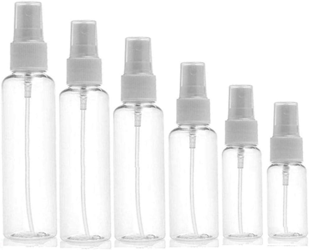 Botella de viaje pequeña transparente de plástico vacía, carga y descarga repetible botella de spray de botella cosmética, para aceites esenciales y líquidos/cosméticos, 5 paquetes