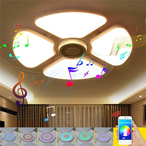 Hitommy 48W/72W RGB LED Ceiling Lights Chandelier Bluetooth Music Lamp with Speaker Intelligent APP Control - Round - 48W