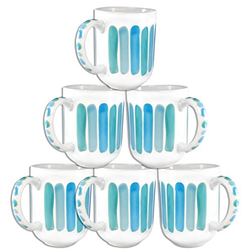 Things That Start With The Letter J (Francois et Mimi Set of 6 Large-Sized 18oz Handpainted Artisan Coffee Mugs (Sky))
