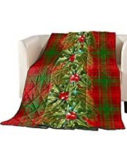 LEOSUCRE Quilt Bedding Duvet Comforter Insert, Christmas Down Alternative Reversible Blanket Coverlet, All Season Quilted Bed Throw Blanket Pine Branch Decor on Red Green Plaid