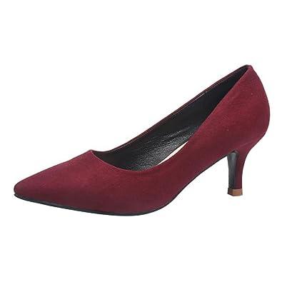 Damen Pumps Wildleder Elegant Bequeme Schuhe Kleiner Absatz Party Abendschuhe Spitze Schuhe mit 4cm Absatz