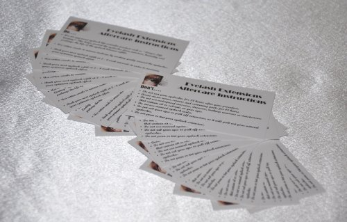 Eyelash Extensions Care - Eyelash Extensions After Care Instruction Cards Qty: 20