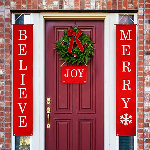 Whaline Christmas Decoration Outdoor Indoor, 3 Pieces Believe, Merry and Joy Sign Christmas Red Banner for Home Indoor Outdoor Porch Wall Decoration