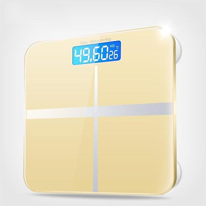 GUOYUN Amarillo Escalas electrónicas precisas Escalas de la salud Escala del cuerpo Termómetro de interior Moderno simple interior de regalo al aire libre ...