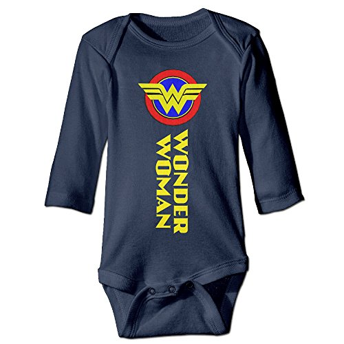 U9 6-24 Months Newborn Babys Boy's & Girl's Wonder W Logo Woman Long Sleeve Jumpsuit Outfits Navy Size 18 Months (Sons Of Anarchy Costume Female)