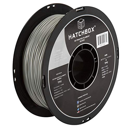 HATCHBOX TPU 3D Printer Filament, Dimensional Accuracy +/- 0.03 mm, 1 kg Spool, 1.75 mm, Shore 95A, Silver