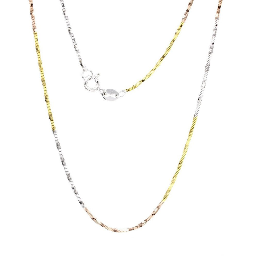 wishrocks 14K Gold Over Silver Italian Crafted Chain Necklace 3.16 Gm 18 0.9MM