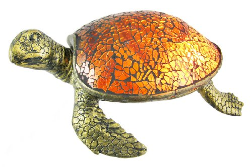Resin And Glass Accent Lamps Cute Mosaic Amber Glass Sea Turtle Accent Lamp 8 X 3 X 6 Inches Silver (Table Lamp Accent Amber)