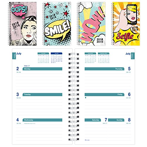Brownline 2018-2019 Comics Designs Weekly Academic Planner, 8 x 5, Week To View diary, July 2018 to July 2019, Assorted Designs, Designs May Vary (CA101PA.ASX-19)
