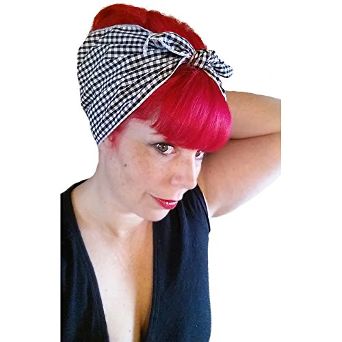 Black And White Gingham Bow (Spellbound Bows Black and White Gingham Double Wide Headwrap)