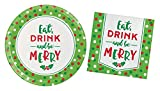 Eat, Drink, and Be Merry Dessert Paper Plates & Cocktail Beverage Napkins Christmas Party Supplies Bundle - 2 Items; 7 Inch Paper Plates and 5 Inch Napkins for 16 Guests
