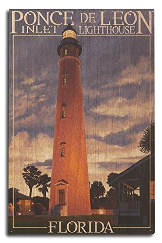 Lantern Press Ponce De Leon Inlet Lighthouse, Florida - Morning Scene (10x15 Wood Wall Sign, Wall Decor Ready to Hang)