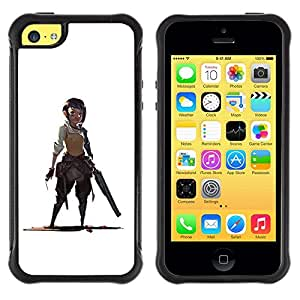 Suave TPU GEL Carcasa Funda Silicona Blando Estuche Caso de protección (para) Apple Iphone 5C / CECELL Phone case / / Warrior Woman Gunman White Drawing /
