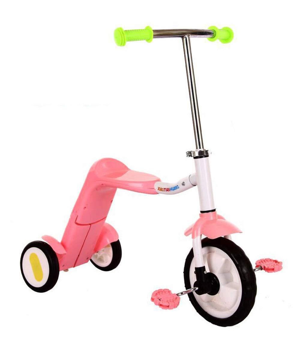 新しい子供のスクーターの赤ちゃん多機能スクーター三輪車男性と女性の赤ちゃんデュアルユース ( Color : Pink ) B07PYFRSVG