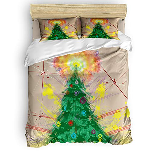 BABE MAPS 4 Piece Luxury Duvet Cover Bedding Sets Twin Hand-Print Christmas Tree Breathable Bedroom Quilt Cover with Zipper Closure and 2 Pillow -