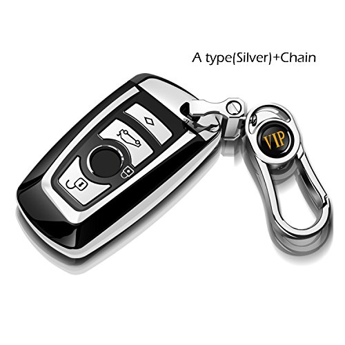 COVELL Compatible with BMW Keychain, Key Fob Cover Case for BMW 1 3 4 5 6 7 Series and Compatible with BMW X3 X4 M2 M3 M4 M5 M6 (Silver with Key Chain)