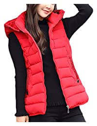 XTX Women Quilted Zip Gilet Hooded Sleeveless High Neck Vest Down Jacket