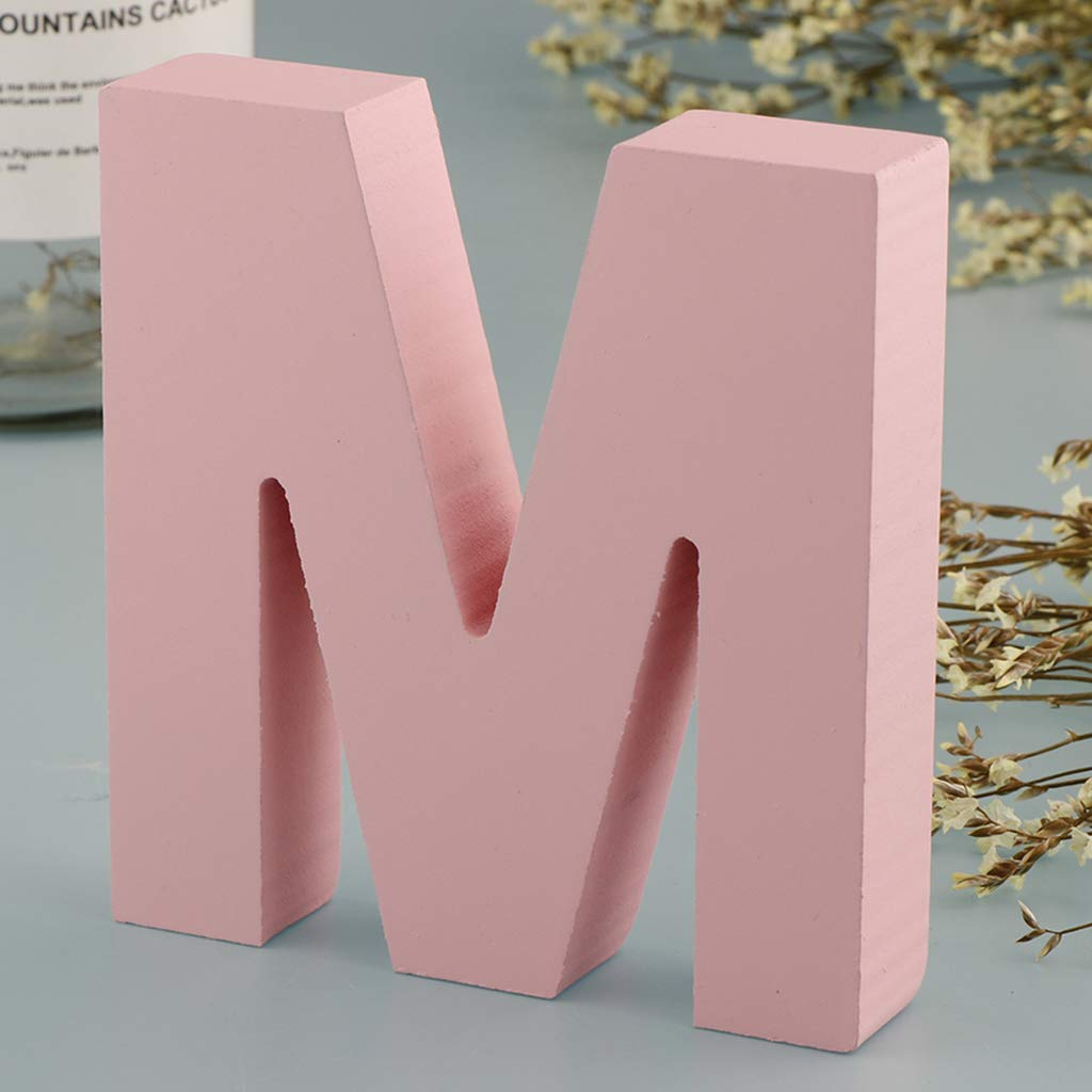 A Baby Nursery Room Decor PETSOLA Pink Wooden Floating Letters Door Numbers Alphabet Letter Baby Shower Signs for Kids 10 x 9 x 2cm