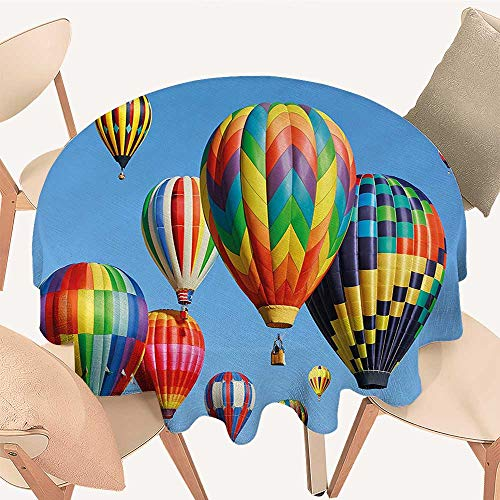 Dragonhome The Round Table Cloth Hot Air Balloons in Sky Flying Journey Fun Adventure Hobby Theme Blue for Birthday Party, Graduation Party, 70 INCH -
