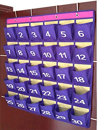 30 Pocket Chart Purple Large Cell Phone Calculator Hanging Organizer for Classroom (Phone Number Chart)