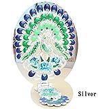 #4: Indexu Retro Peacock Makeup Mirror Oval Desktop Make-up Mirror Rhinestones Decoration Silver