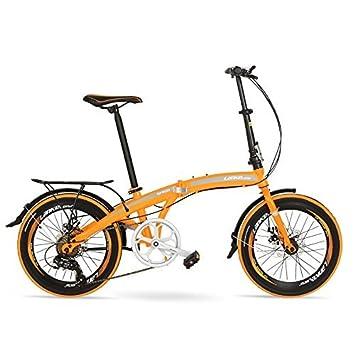 LANKELEISI QF600G Bicicleta Plegable de 20 Pulgadas, Bicicleta Plegable de 7 velocidades, Estructura de