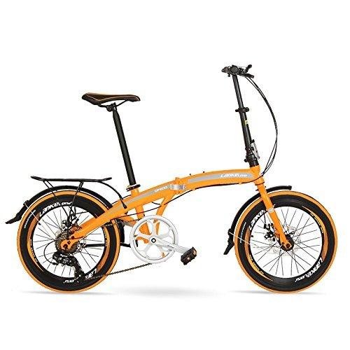 QF600G 20インチ折りたたみ自転車、7スピード折りたたみ自転車、高炭素鋼フレーム、BMX、両ディスクブレーキ B078Z7Q53D 黄 plus 黄 plus
