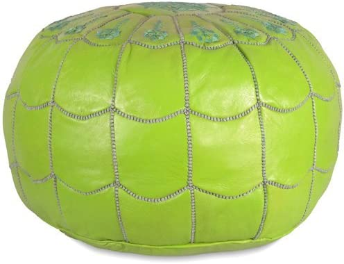 Mina Stuffed Moroccan Arch design Leather Pouf Ottoman, Many Colors Available, 22 Diameter and 14 Height Lime Green