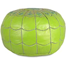 "Mina Stuffed Moroccan Arch design Leather Pouf Ottoman, Many Colors Available, 22"" Diameter and 14"" Height (Lime Green)"