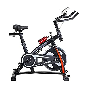 Pinty Pro Stationary Upright Exercise Bike Indoor Cycling Cardio Trainer with LCD Monitor & Water Bottle (Black)