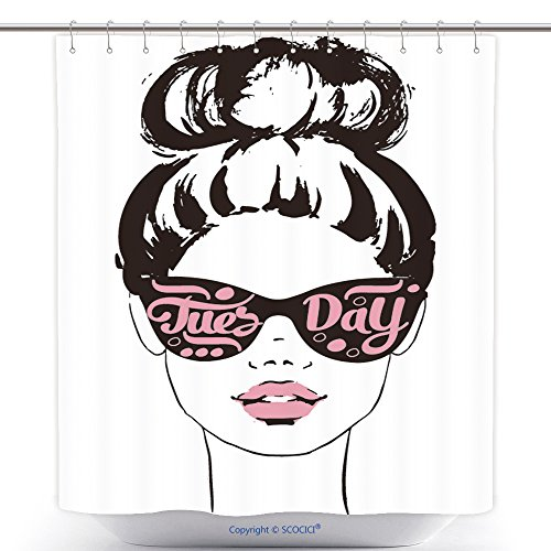 vanfan-Durable Shower Curtains Women Face With Sunglasses Tuesday Fashion Girls Illustration Set Polyester Bathroom Shower Curtain Set With Hooks(70 x 78 - For What Face Shape Sunglasses Oval