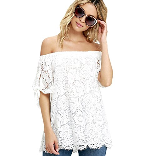Bolayu Fashion Women Summer Lace Off Shoulder Casual Shirt Tops Blouse T-Shirt (L)