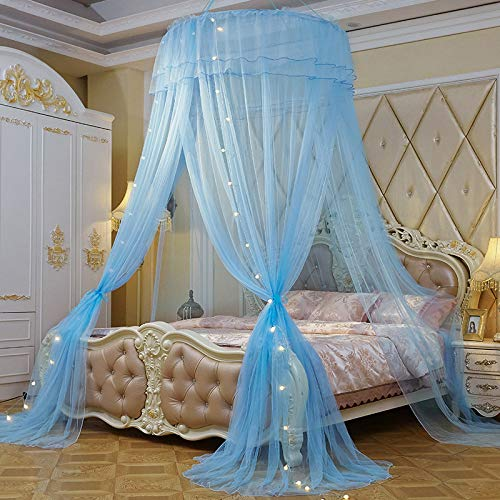 JBailmx Bed Canopy Mosquito Repellent Insect Net with LED Sleeping Bulb Dome Tent, Anti-Mosquito Net Canopy for All Beds, Provides Effective Mosquito Repellent, Three Entrance, Height 280Cm,Blue