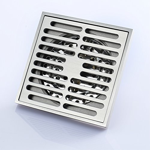 Square Shower Floor Drain Tile Insert 4-Inch Bathroom Copper Floor Drain Anti-Backwater Insect Prevention Deodorant Floor Drain Large Flow Drainage Floor Drain by YJZ (Image #5)