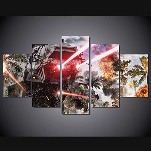 HENANFSLY Hd Printed Canvas Painting Wall Art 5 Pieces Star Wars Battle Car Light Frame Modular Poster Home Decoration for Living Room