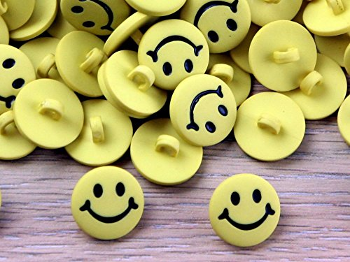 Impex Smiley Face Buttons Yellow - per Pack of 100