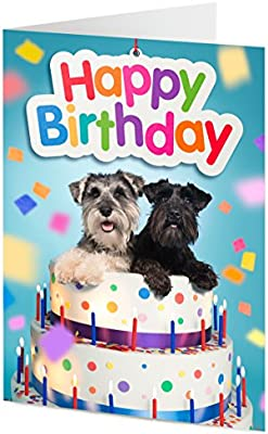 Excellent Two Schnauzer Dogs Emerge From Giant Birthday Cake Birthday Card Funny Birthday Cards Online Alyptdamsfinfo