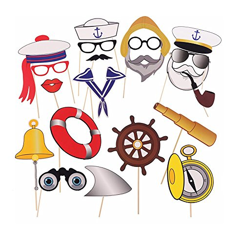 Miraclekoo Nautical Party Photo Booth Props Navy Anchor Sailor Photo Booth Props Kit,20 Count