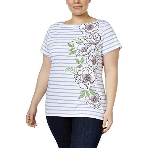 Karen Scott Womens Plus Striped Embellished T-Shirt Blue 1X (Embellished Striped)