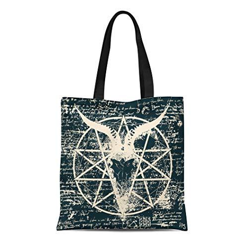 Semtomn Canvas Tote Bag Shoulder Bags Skull of Goat and Pentagram Splashes Old Papyrus Magical Women's Handle Shoulder Tote Shopper Handbag