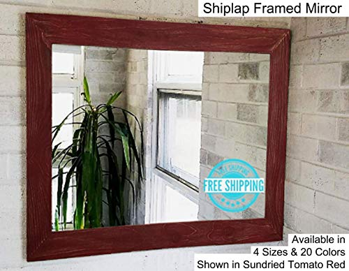 Shiplap Large Wood Framed Mirror Available in 4 Sizes and 20 Colors: Shown in Sundried Tomato Red Paint - Large Wall Mirror - Rustic Barnwood Style - Rustic Distressed Wood Framed Mirror