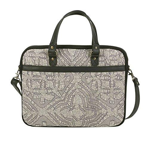 NOVICA Black Leather Accent Cotton Laptop Bag, Savvy Traveler' (Indian Handbag Handmade Accent)
