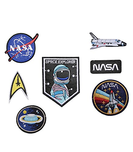 Nasa Clothing Patch (SET of 7 Iron on / Sew On ASTRONAUT Embroidered Patch NASA space agancy Applique SPACE EXPLORER CRAFT Embroidery Motif transfer)