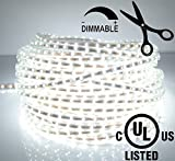 LEDJump Bright Pure White Dimmable Linkable 300SMD LED Tape Ribbon Flexible Strip Lights 16.4 Ft 12v,3M Adhesive, For Party Home Decor Auto Under Cabinets hallways stairs trails windows USE, UL