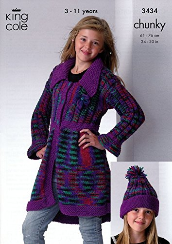 King Cole Childrens Coat, Sweater & Hat Magnum Knitting Pattern 3434 - Sweater Knitting Coats Patterns