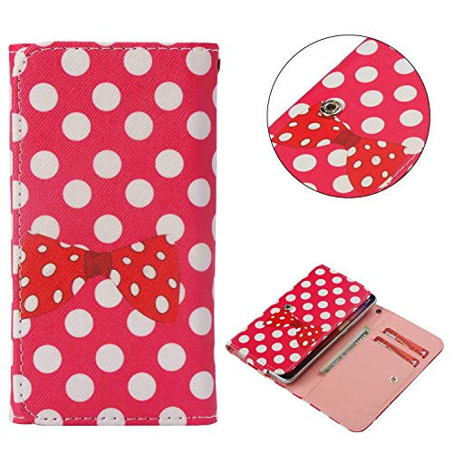 Cell Phone Flip Case for Infinix S3X X622 6.2 and More, Tenplus Universal Folio Case Cover PU Leather Skin Protective Wallet Clutch Bag with Card Slots (Spots Bow)