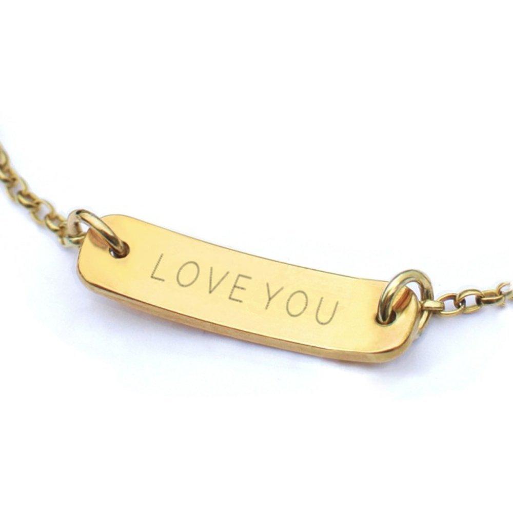 241bb93e599c Brazalete pequeño barra personalizado de oro con nombre