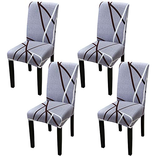 YISUN Dining Room Chair Covers, Super Fit Stretch Jacquard Removable Washable Chair Seat Protector Slipcover for Home Party Hotel Wedding Ceremony(4 Sets, Purple Grey)