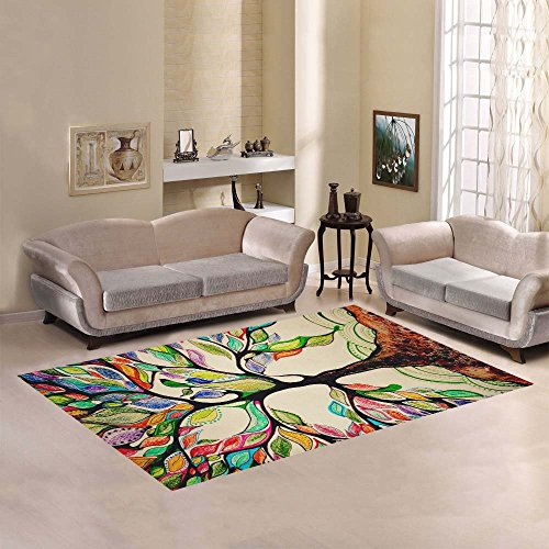 JC-Dress Area Rug Cover Tree Of Life Modern Carpet Cover 7'x5'